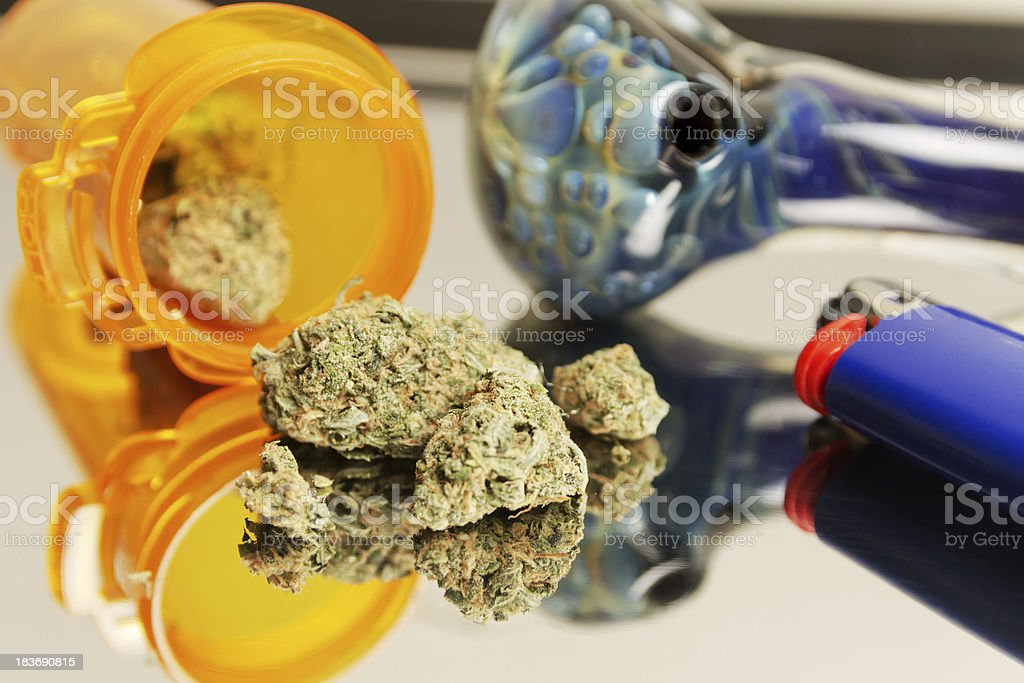 Medical Marijuana with Pipe royalty-free stock photo