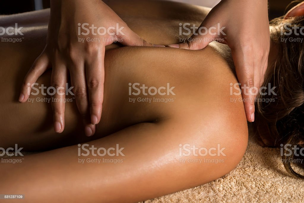 Medical massage closeup. stock photo