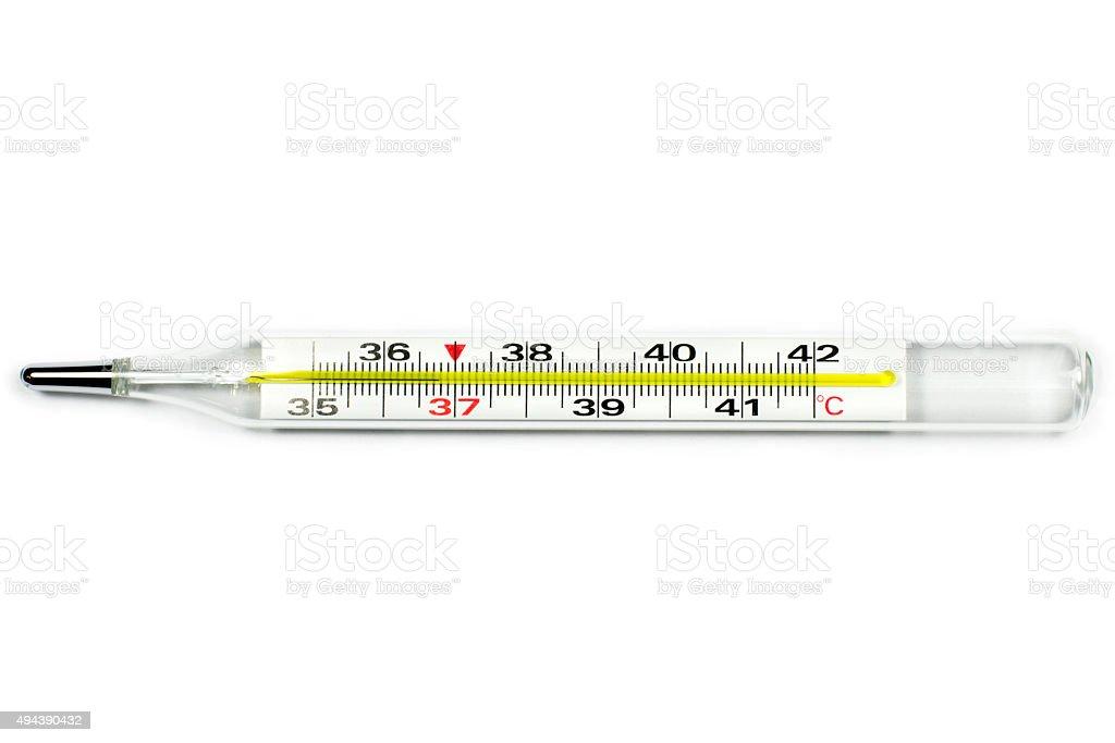 Medical mercury thermometer isolated on white stock photo