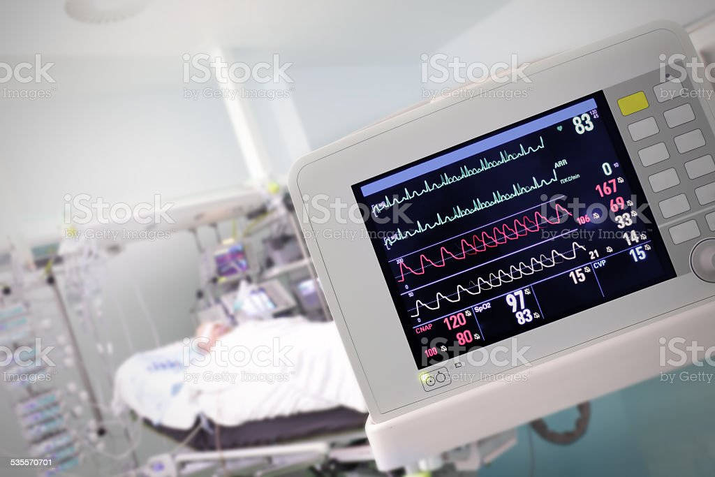 Medical Monitor against the hospital room stock photo