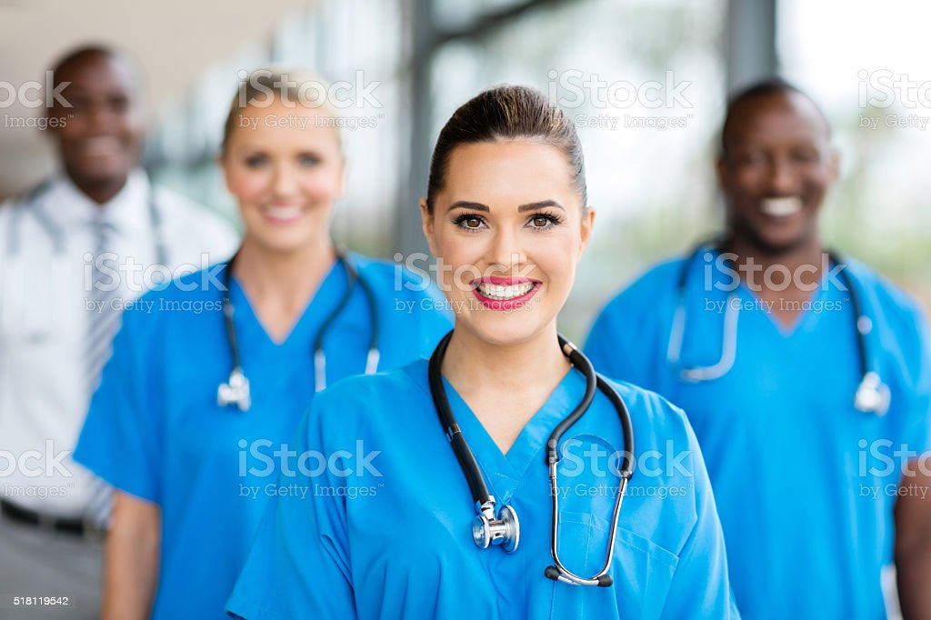 medical nurse and colleagues stock photo