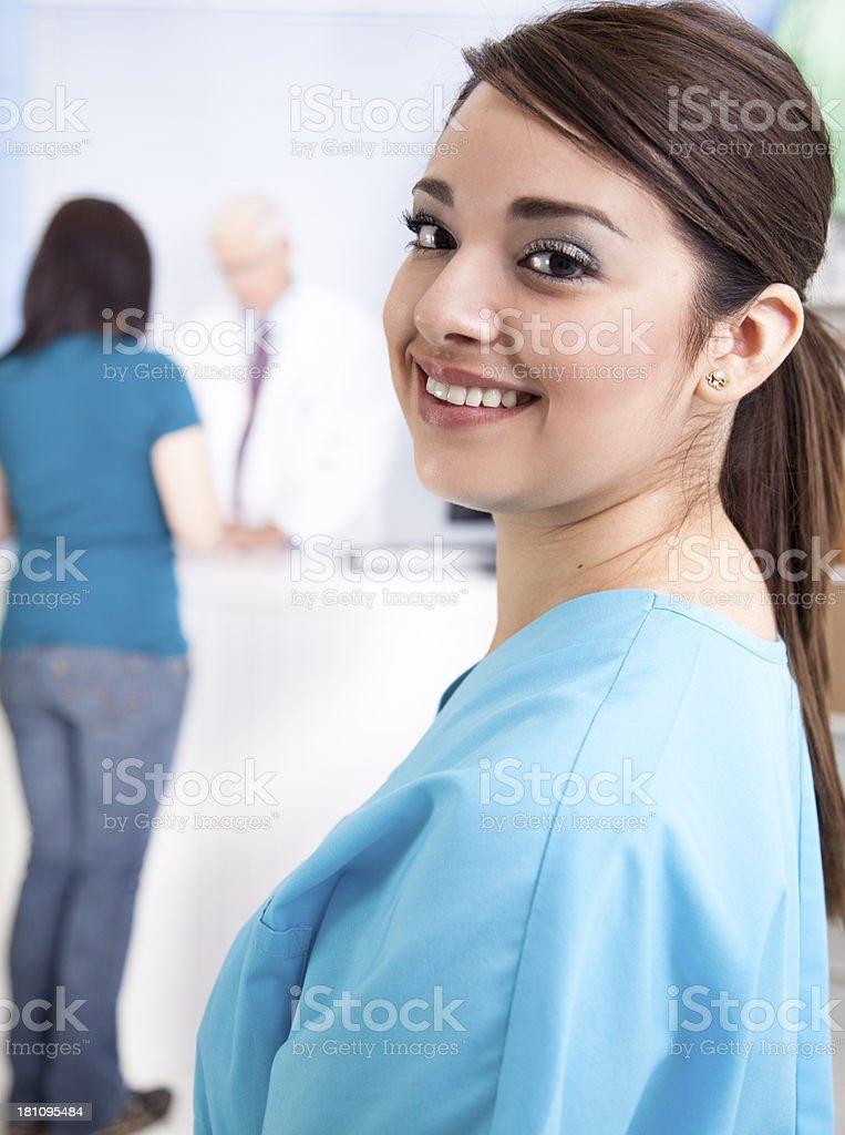 Medical:  Nurse at pharmacy clinic .  Pharmacist and customer background. royalty-free stock photo