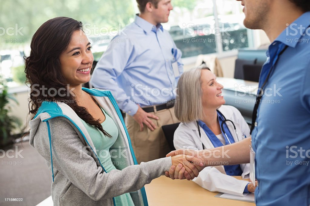 Medical or nursing student signing up for college classes royalty-free stock photo