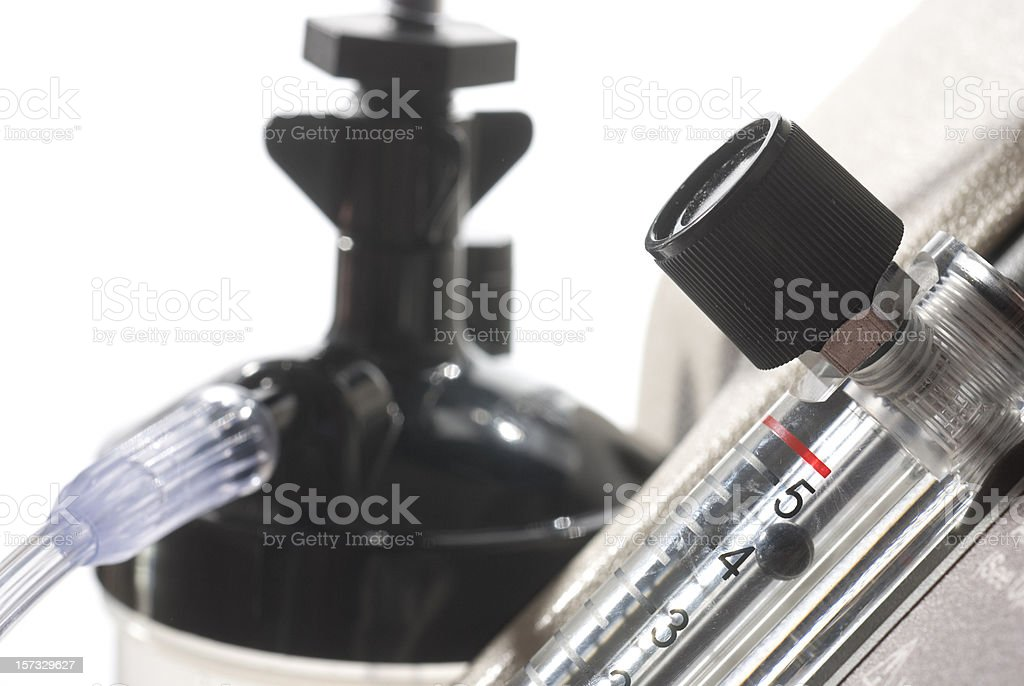 Medical Oxygen Concentrator, Flow Meter, & Hydration Tank stock photo