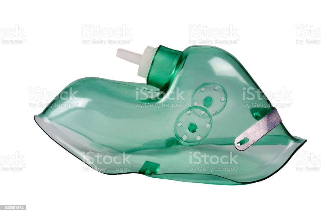 medical oxygen mask on a white background stock photo