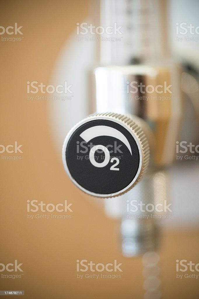 Medical oxygen O2 valve in hospital, close-up stock photo