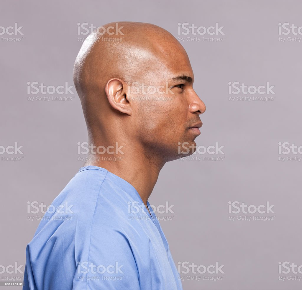 Medical Patient Side Profile-Facing Right stock photo