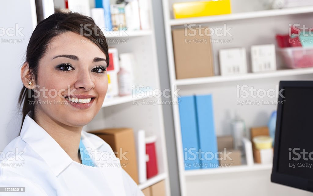 Medical:  Pharmacist at pharmacy counter royalty-free stock photo