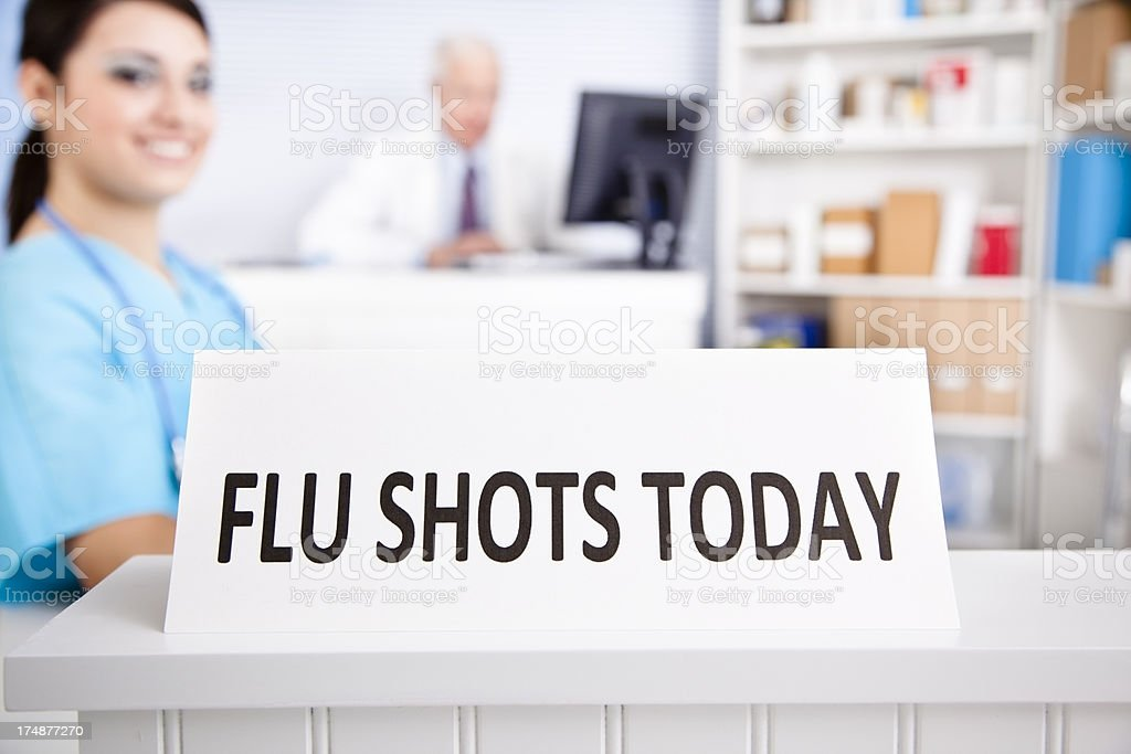 Medical:  Pharmacy advertising flu shots will be given today. royalty-free stock photo