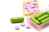 Medical pills capsule in pill box