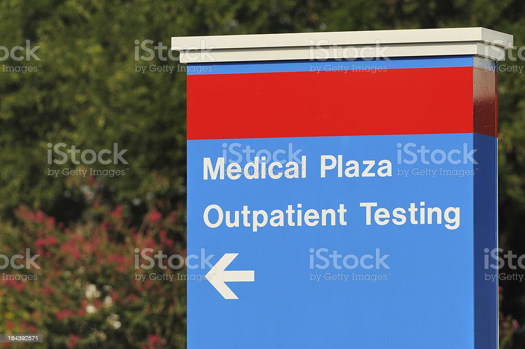 Medical plaza and outpatient testing sign royalty-free stock photo