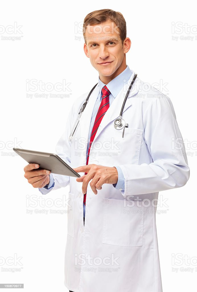 Medical Practitioner Using Digital Tablet - Isolated royalty-free stock photo