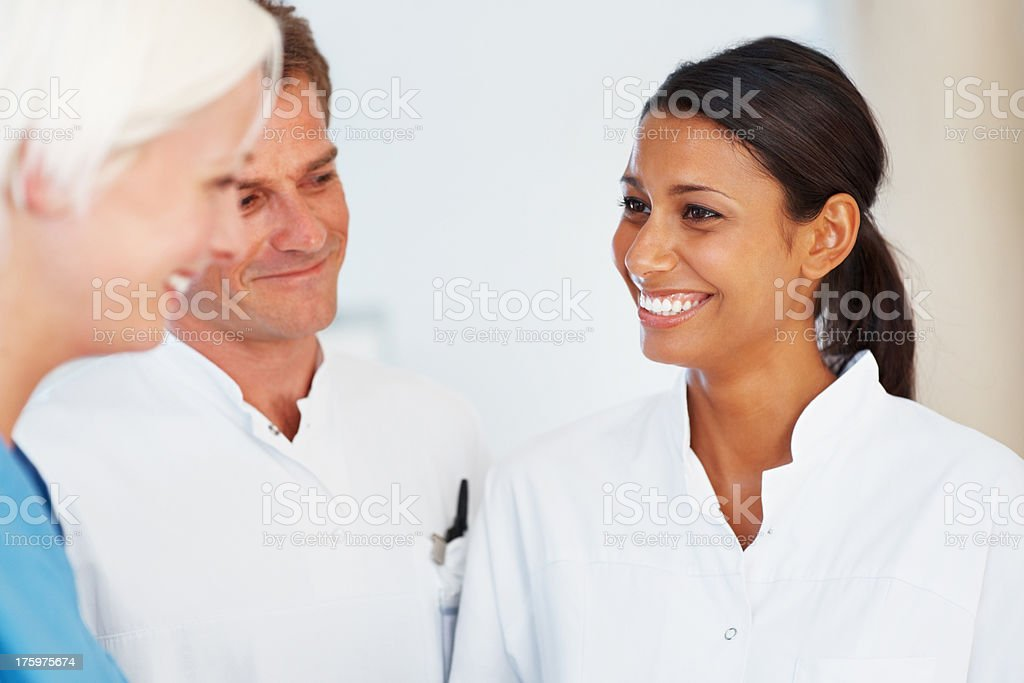 Medical practitioners during a break at hospital stock photo