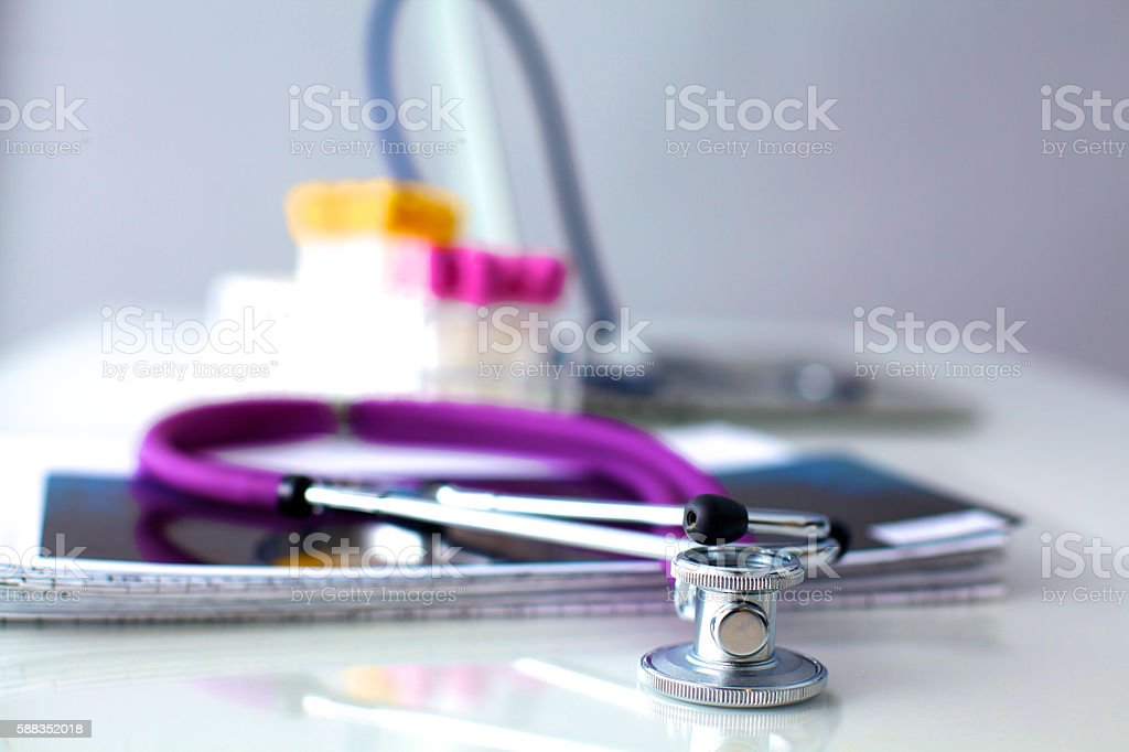 Medical preparations stethoscope  at the table stock photo
