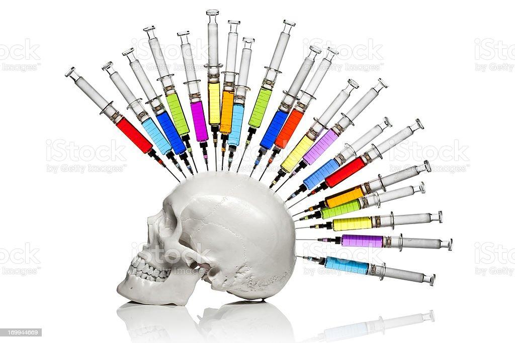 Medical Punk - Skull Ink Horror Medicine Syringe Bizarre Humor stock photo