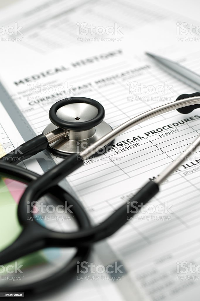 Medical Records & amp ; Stethoscope stock photo