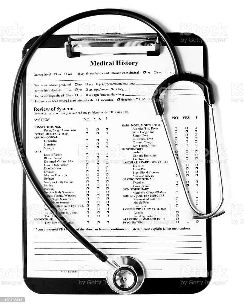 A doctors office medical records form on a black clipboard with...