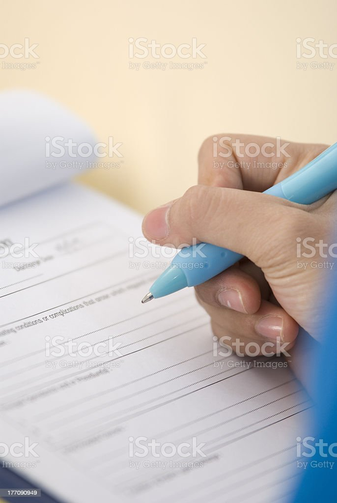 Medical records form stock photo