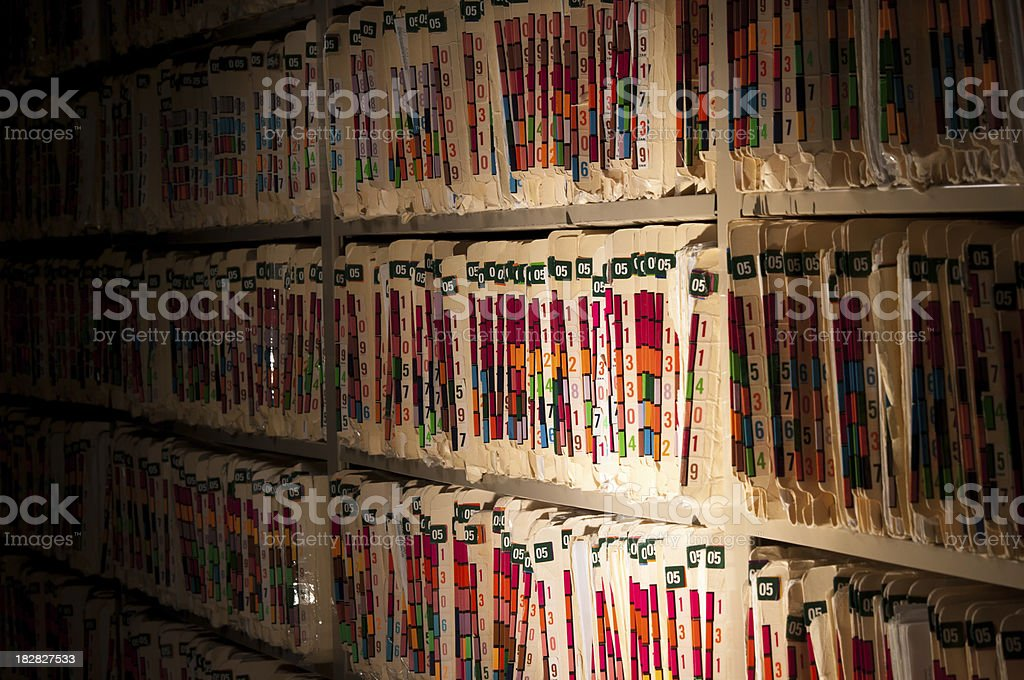 Medical Records - Night Watch stock photo