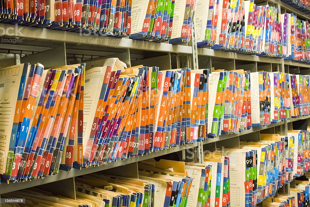 Medical Records - Patient Charts  Personnel Files royalty-free stock photo