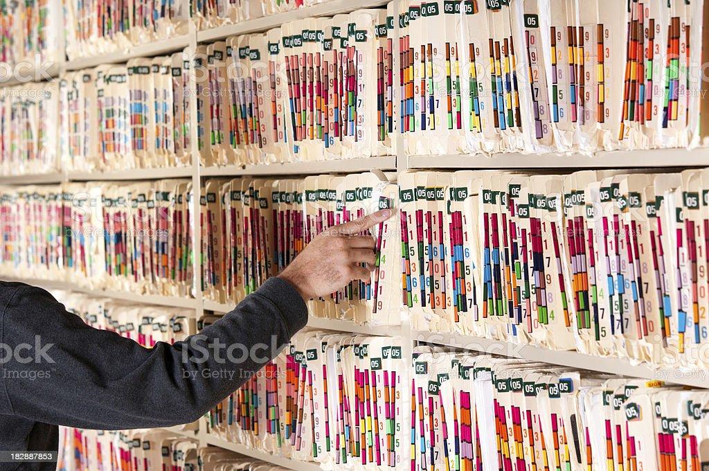 Medical Records - Selecting royalty-free stock photo