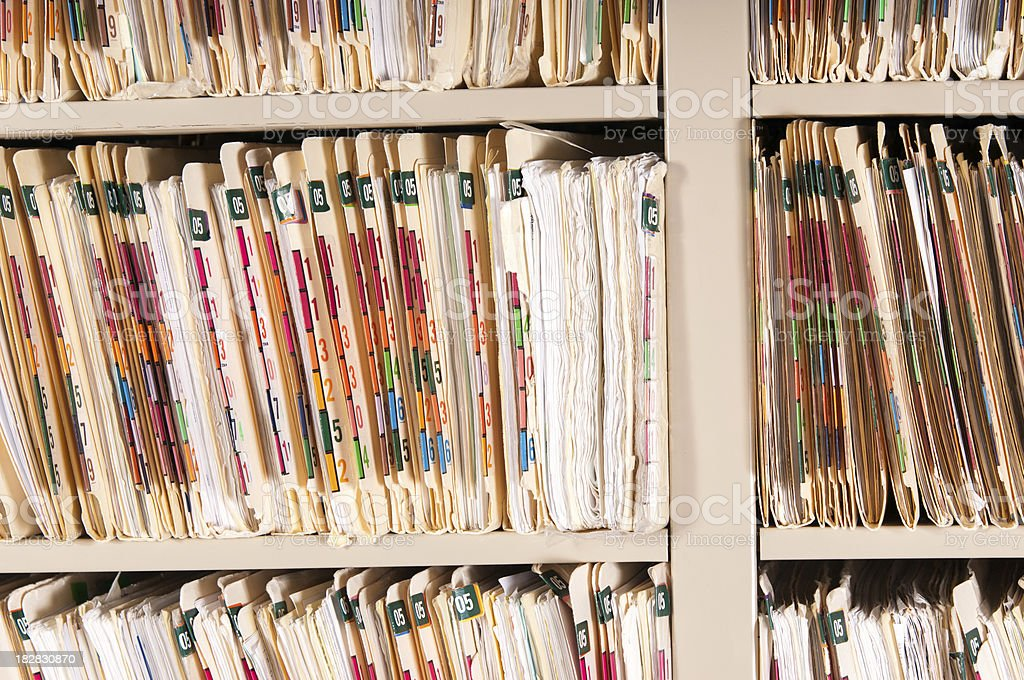 Medical Records Shelves - Huge Record stock photo