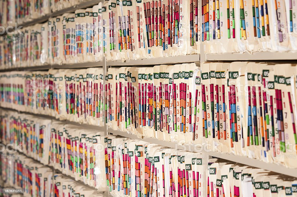 Medical Records Shelves stock photo