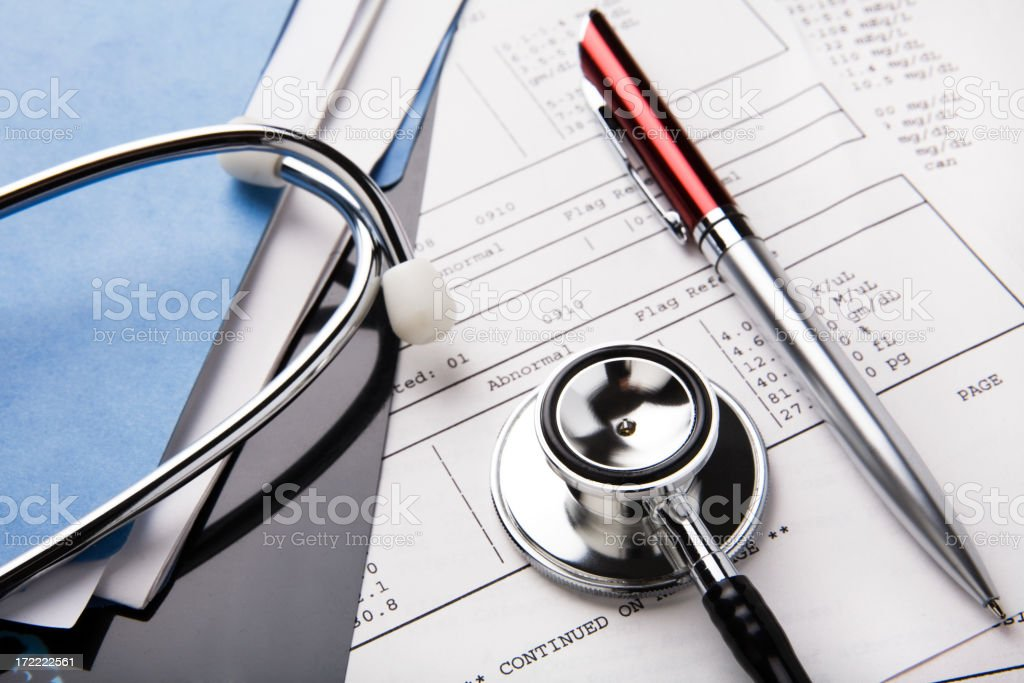 Medical Records & Stethoscope royalty-free stock photo