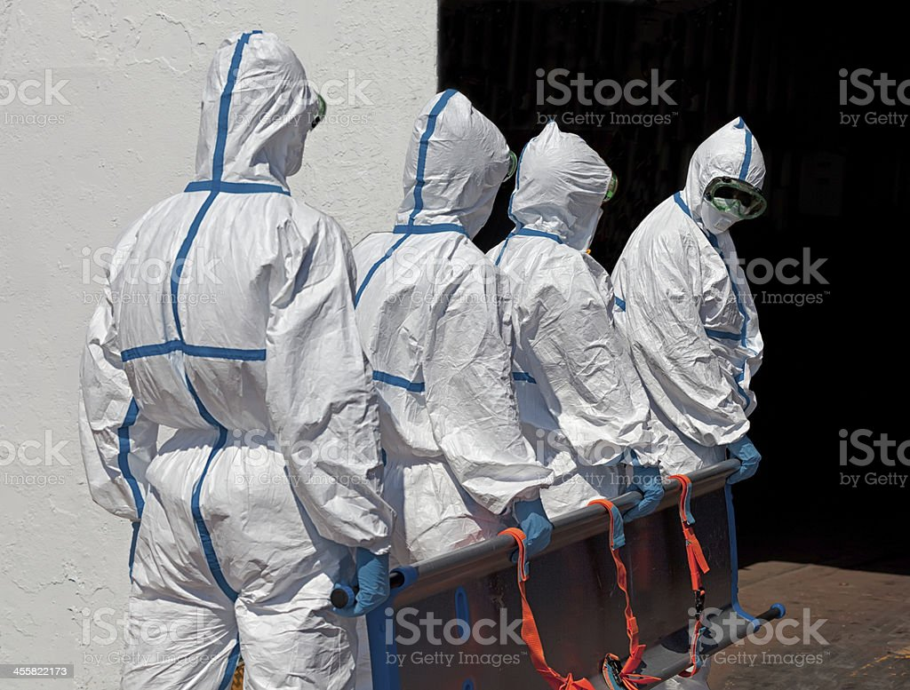 Medical rescue team in Quarantine area with stretcher stock photo