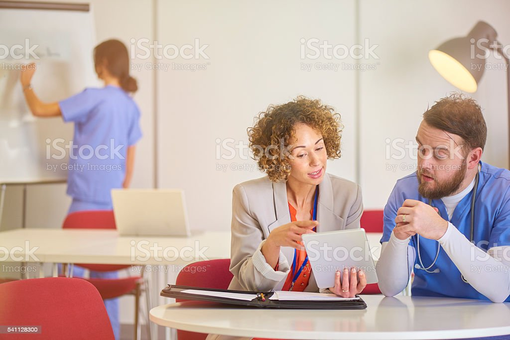 medical sales pitch stock photo