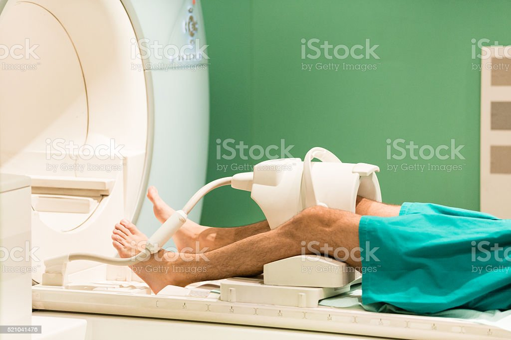 Medical scan of male leg stock photo