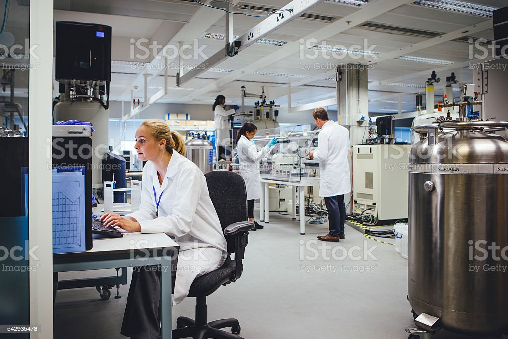 Medical Science Professionals Working in a Laboratory stock photo