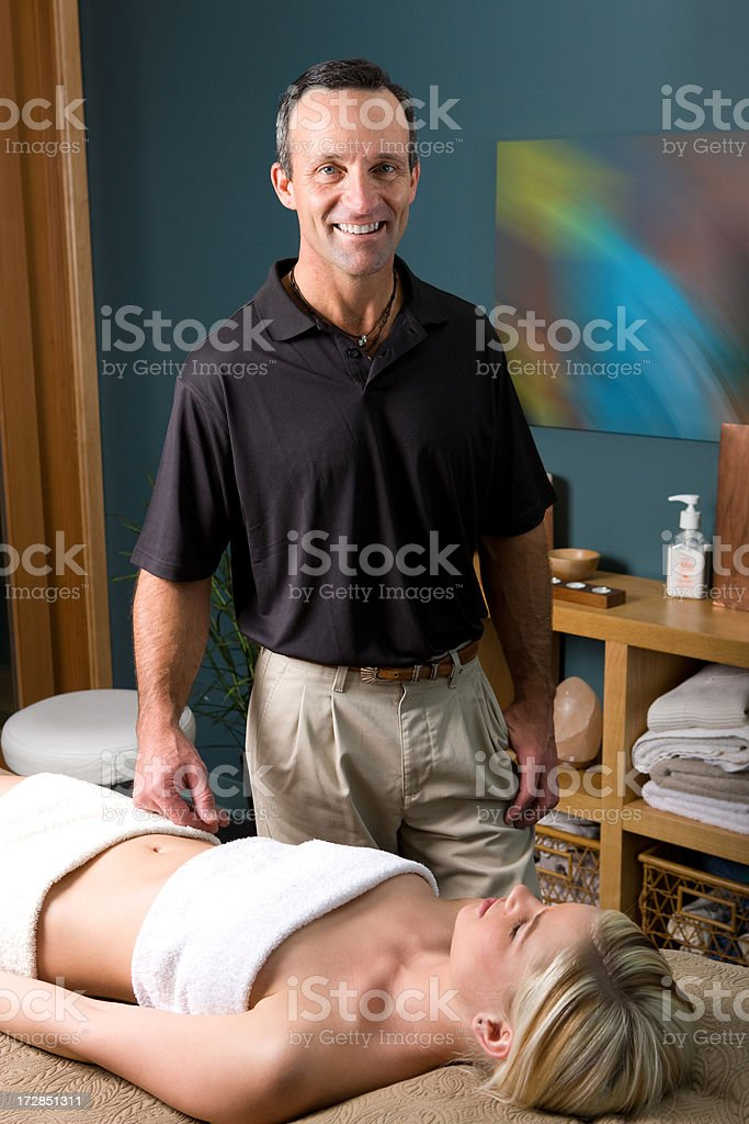 Medical Spa-Massage Therapist with Patient royalty-free stock photo