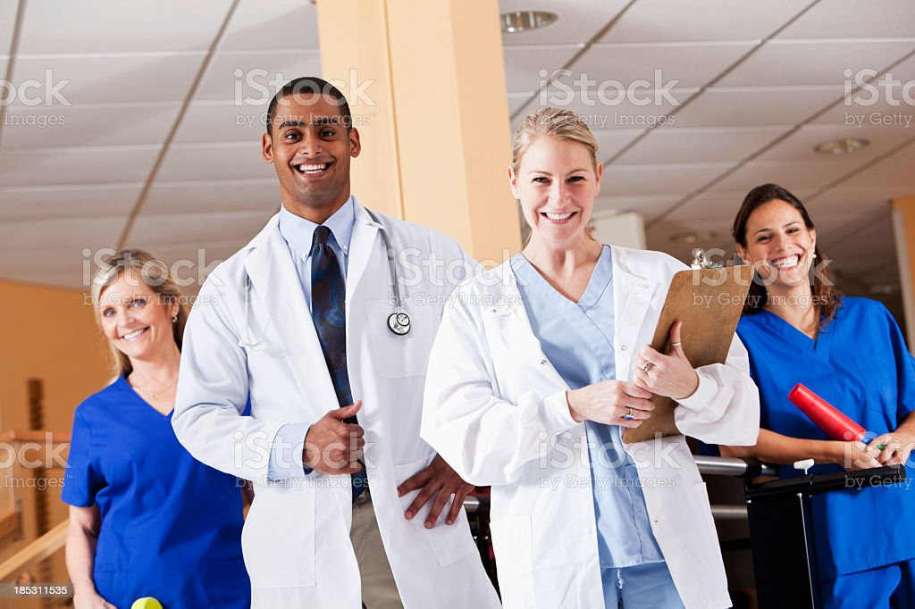 Medical staff at physical therapy clinic stock photo