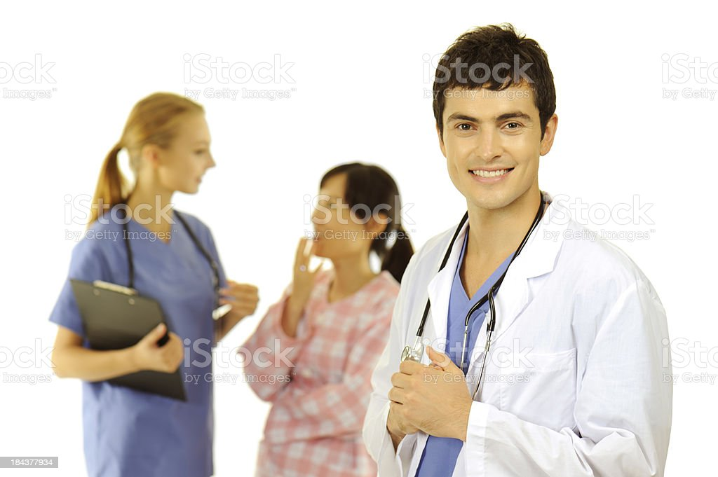 Medical staffs caring a patient royalty-free stock photo