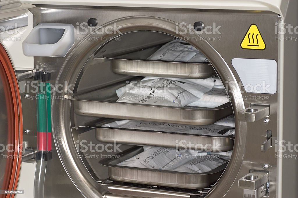Medical Steam Sterilizer Interior stock photo