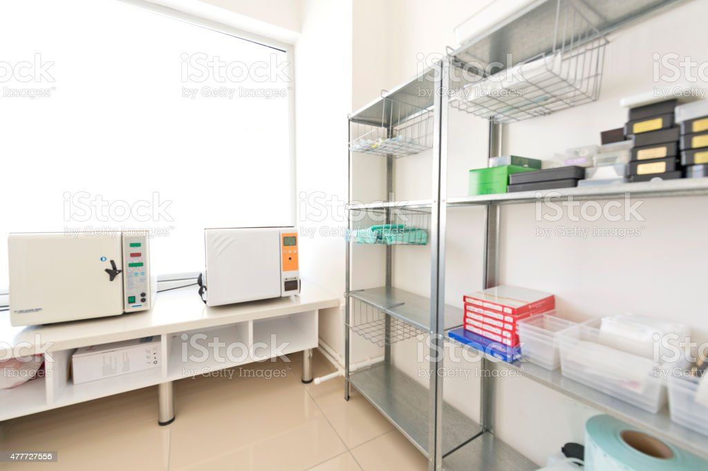 Medical sterilization equipments in a clinic stock photo
