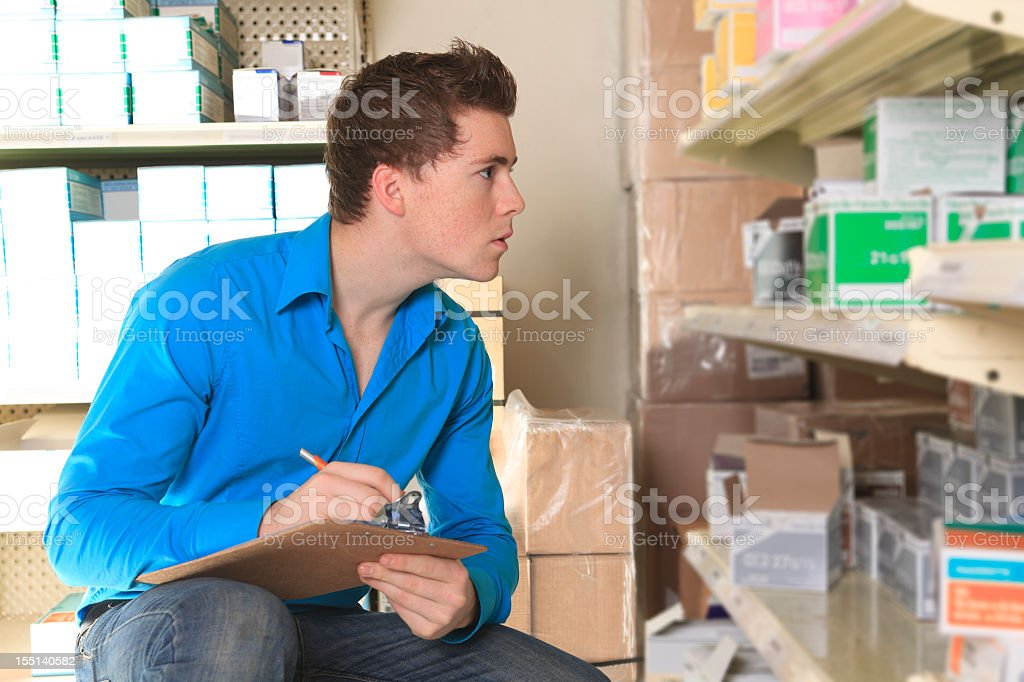 Medical Store - check the  Inventory royalty-free stock photo