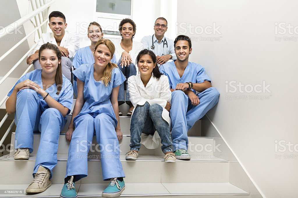 Medical students and team stock photo