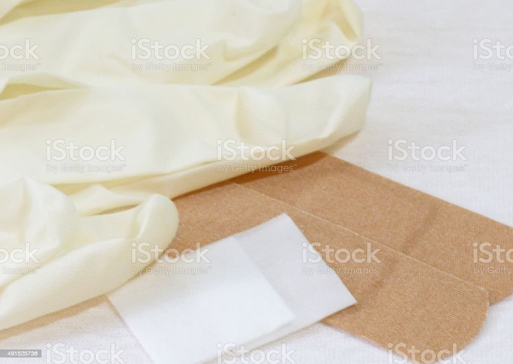 Medical Supplies - latex gloves, band-aids, alcohol pads stock photo