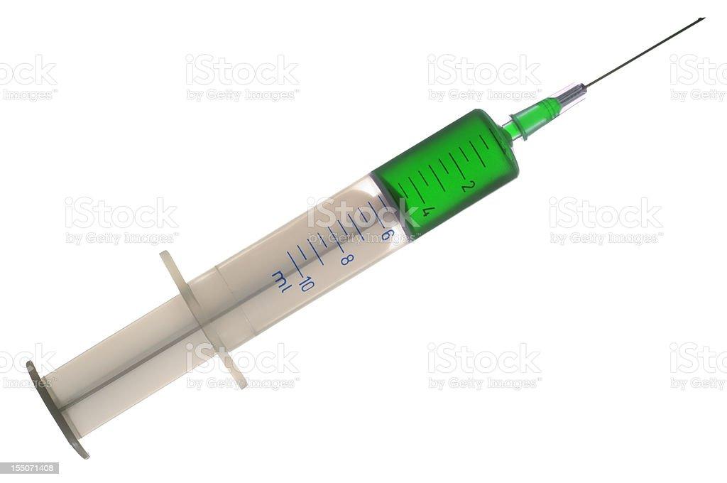Medical syringe with green liquid, isolated on white royalty-free stock photo