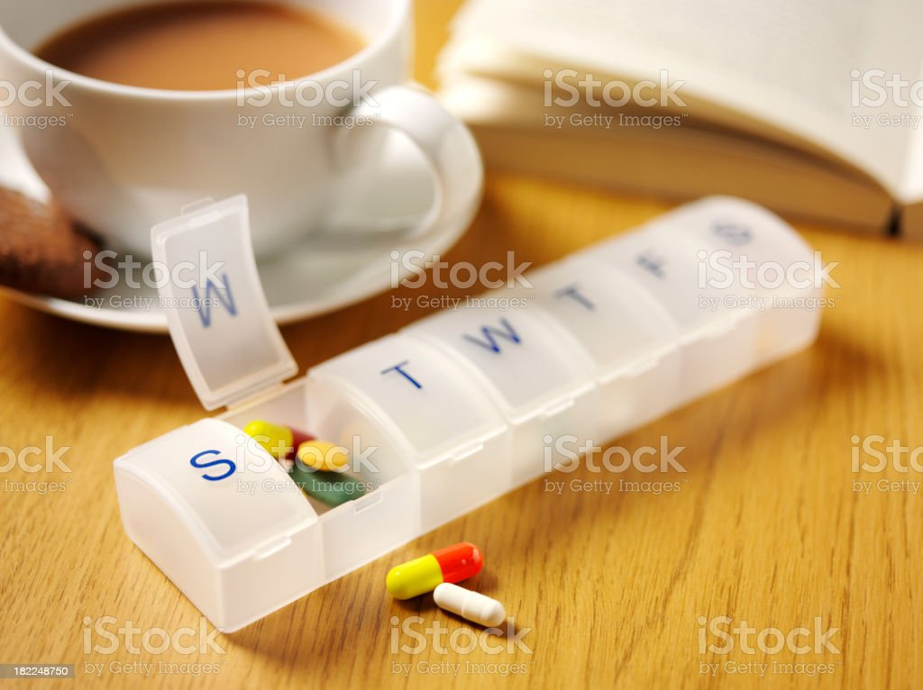 Medical Tablets and a Pill Box royalty-free stock photo