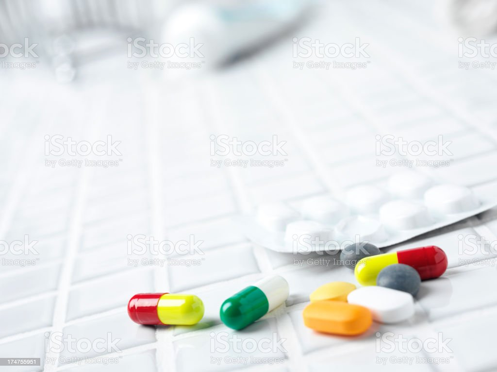 Medical Tablets in the Bathroom stock photo