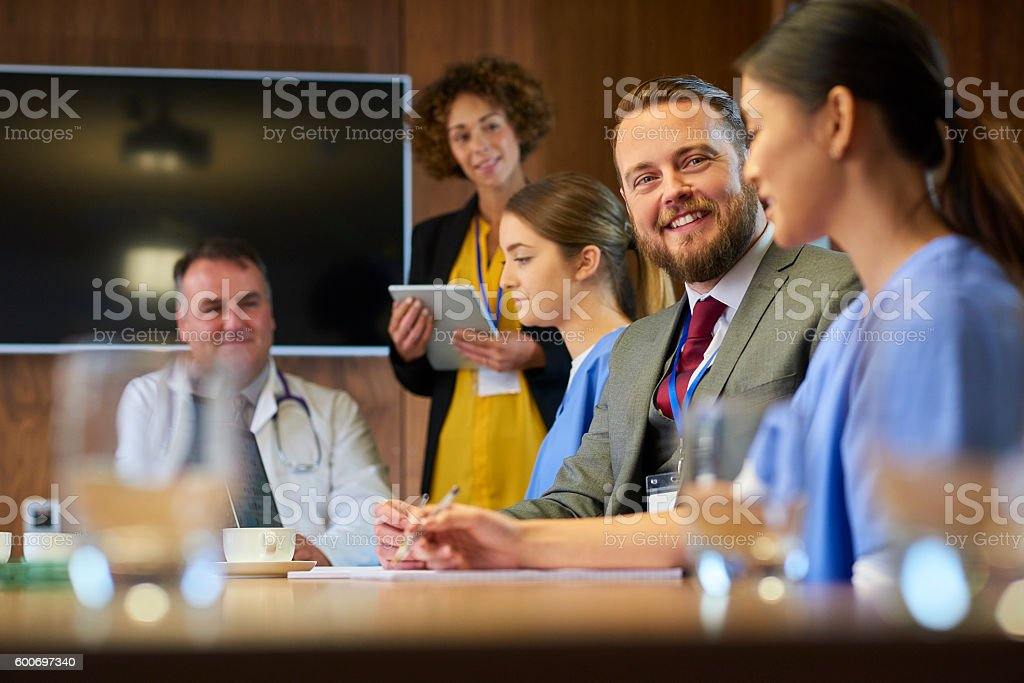 medical team business meeting stock photo