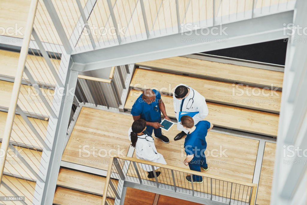 Medical team having an emergency discussion stock photo