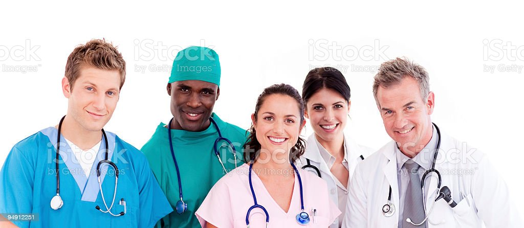Medical team  looking at the camera stock photo