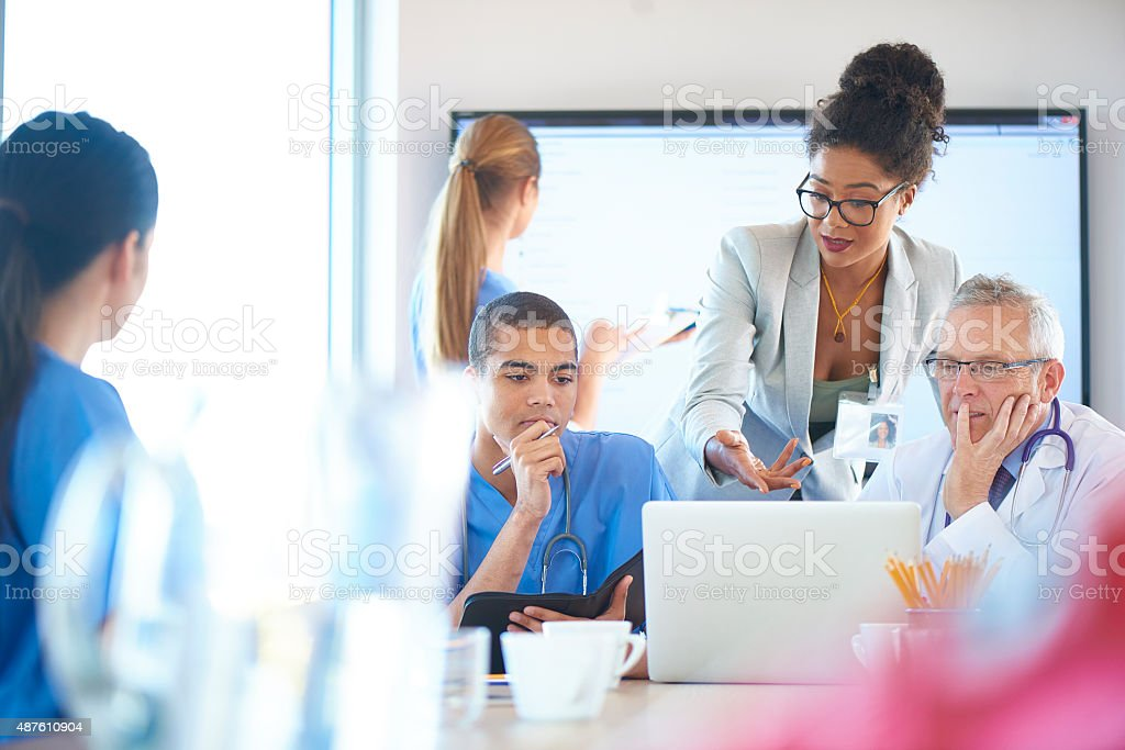 medical team meeting stock photo