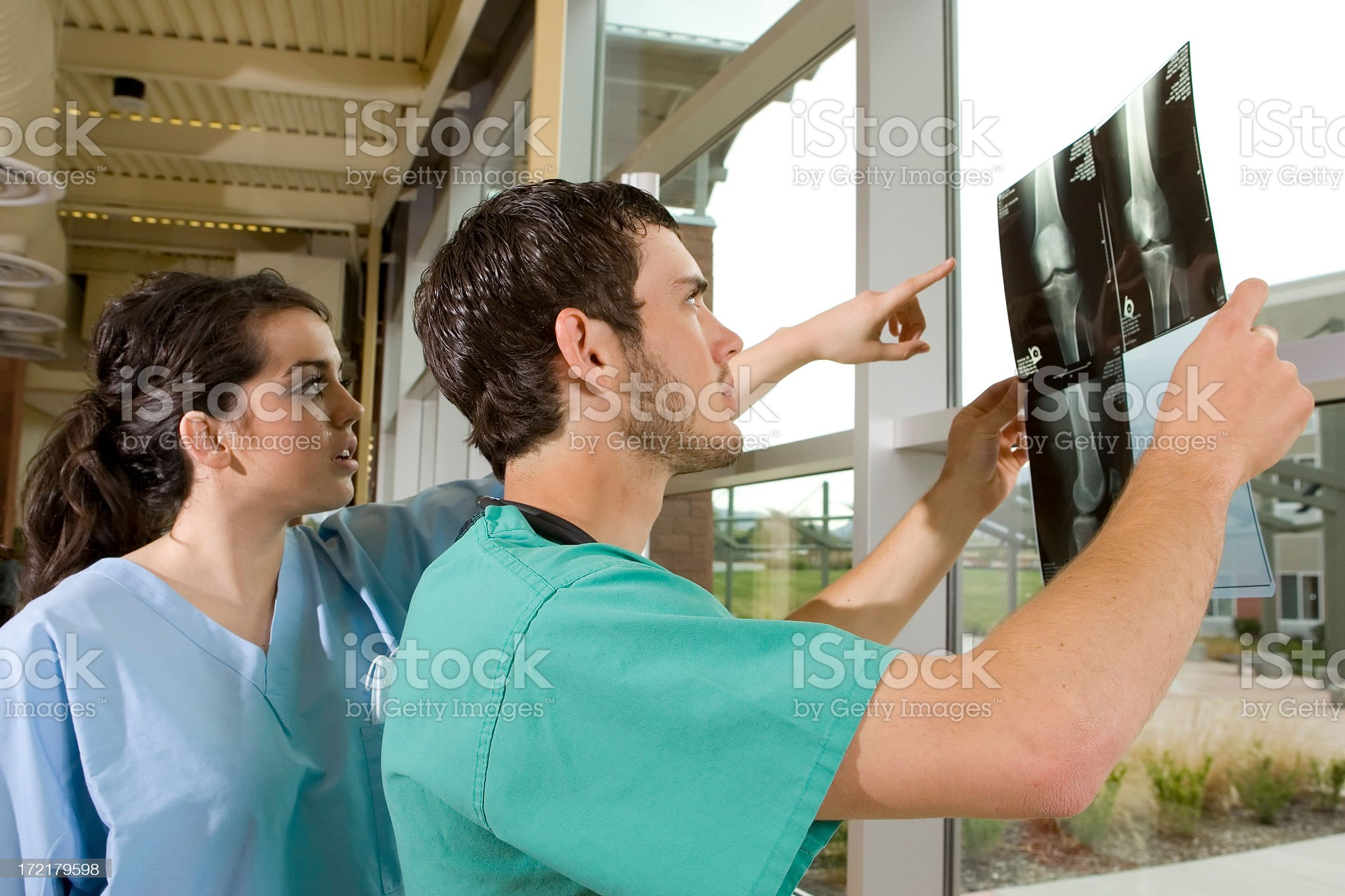 Medical Technicians Reviewing X-rays royalty-free stock photo