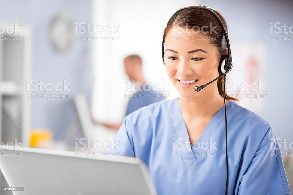 medical telephone assistance stock photo
