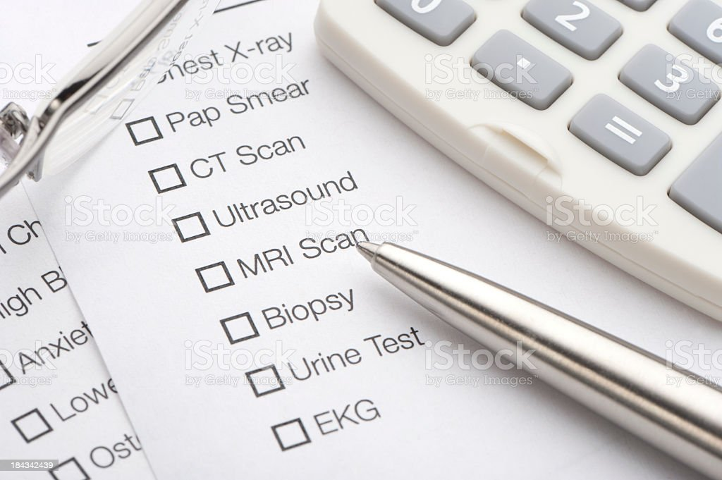 Medical test list stock photo